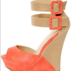 Coral & Beige Color Block Wedges - Worn Once!